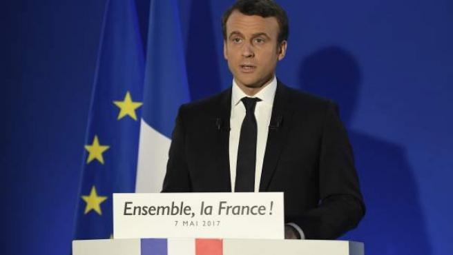 Emmanuel Macron, en su primer discurso tras ganar las elecciones presidenciales francesas.