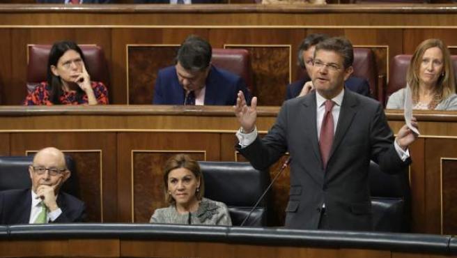 El ministro de Justicia, Rafael Catalá, durante su intervención.