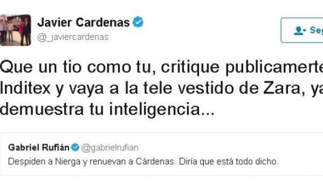 La marcha de Gemma Nierga de la Ser propicia una discusión en Twitter entre Rufián y Cárdenas