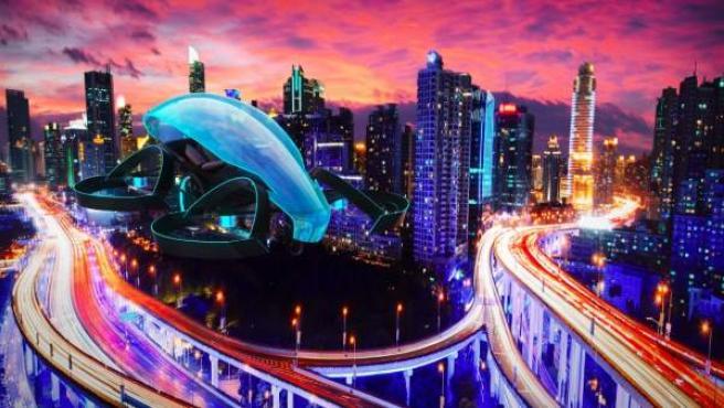 Prototipo del coche volador que encendería la llama olímpica en Tokyo 2020.