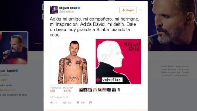 Tuit de Miguel Bosé dando las condolencias por la muerte de David Delfín.