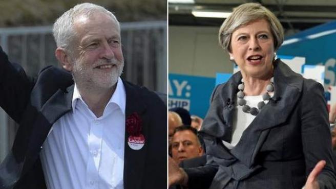 El líder laborista, Jeremy Corbyn, y la primera ministra británica, la conservadora Theresa May (d), en 2017.