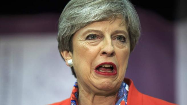 Theresa May, esperando resultados electorales.