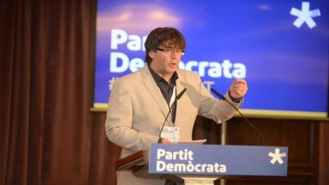 El presidente de la Generalitat, Carles Puigdemont, en Lloret de Mar.