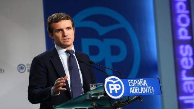 Pablo Casado en rueda de prensa en la sede del PSOE