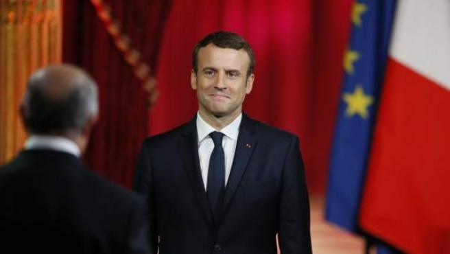 Emmanuel Macron, durante la ceremonia en la que ha sido proclamado oficialmente como nuevo presidente de Francia.
