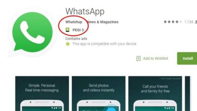 Ejemplo del último Whatsapp falso descubierto en Google Play.