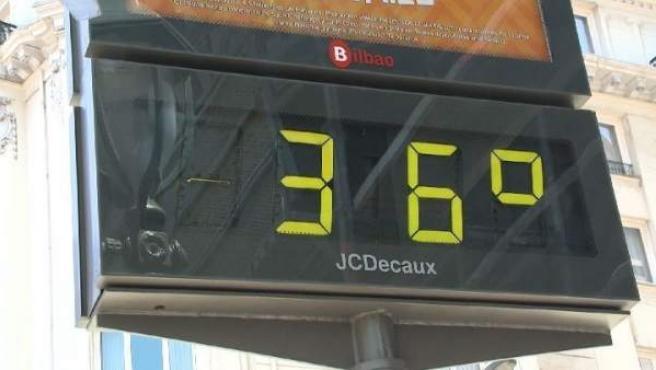 Termómetro en Bilbao marca 36 grados