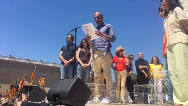 Pep Guardiola en un acto a favor del referéndum catalán.