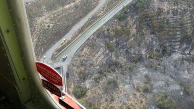 Vista aérea del incendio forestal de El Granado (Huelva)