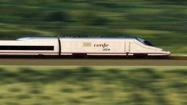 Un tren de AVE en pleno viaje.