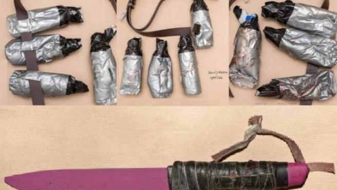 Los falsos explosivos y el cuchillo que utilizaron los atacantes del atentado de Londres.