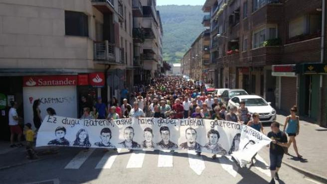 Manifestación en contra de la 'dispersión' de los detenidos de Alsasua
