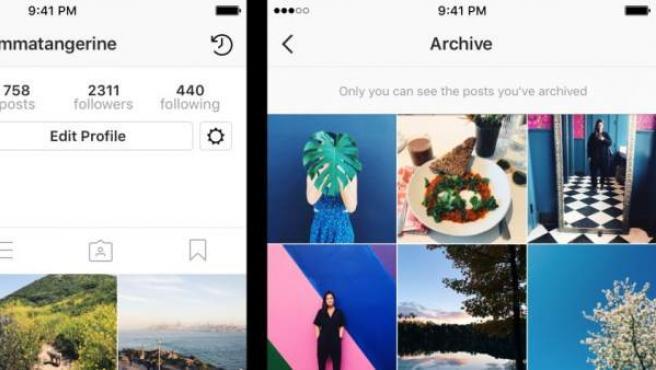 Imagen del archivo personal con fotos seleccionadas de cada usuario en Instagram.