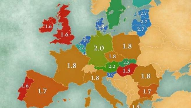 Mapa de lenguas habladas en cada país europeo.