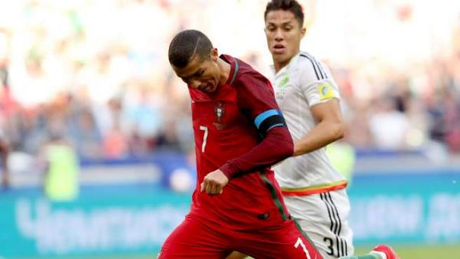Cristiano Ronaldo, en el debut de Portugal en la Copa Confederaciones ante México.