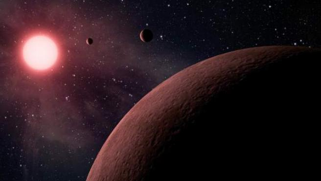 Recreación artística de planetas descubiertos por el telescopio Kepler.