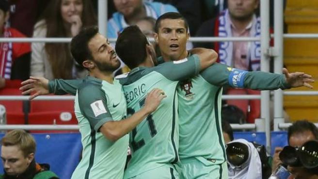 Cristiano Ronaldo celebra su gol ante Rusia en la Copa Confederaciones.