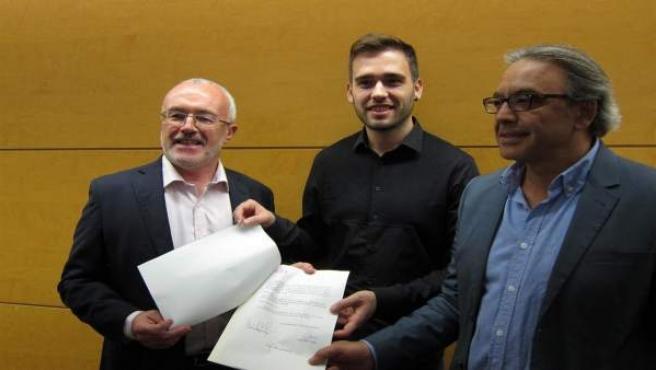 Los síndics de Podem, Compromís y PSPV en una imagen de archivo