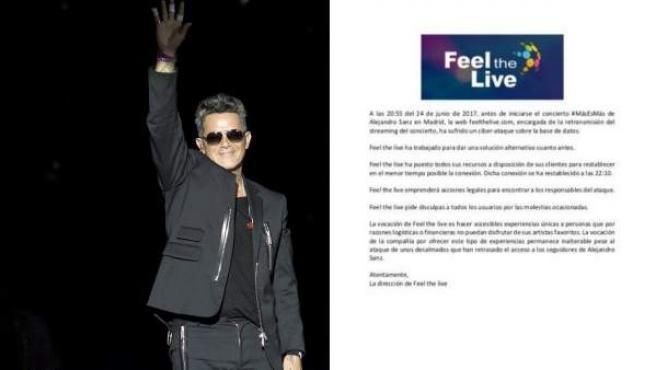 Alejandro Sanz, en su concierto de Madrid, junto al comunicado de prensa de 'Feel The Live'.