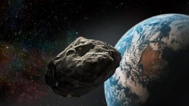 Recreación artística de la NASA que muestra como un asteroide se acerca peligrosamente a la Tierra.