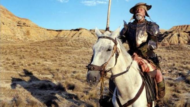 Escena de 'Lost in La Mancha' (2002), el documental sobre el rodaje frustrado de la película de Terry Gilliam sobre Don Quijote, proyecto que empezó a gestarse en el año 2000 pero que lleva en la cabeza del director de 1989.