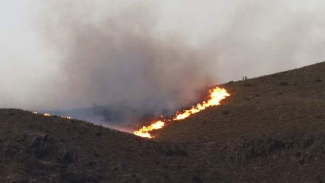 Llamas del incendio declarado en el paraje Pozo de los Frailes, en Níjar, en el parque natural de Cabo de Gata.