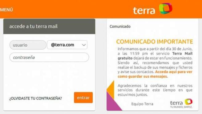 Anuncio del cierre de Terra Mail.