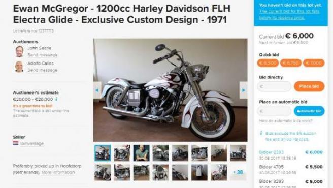 Captura de pantalla de la casa de subastas 'online' Catawiki en la que se puede ver la puja por la moto que Ewan McGregor asegura que no es suya.