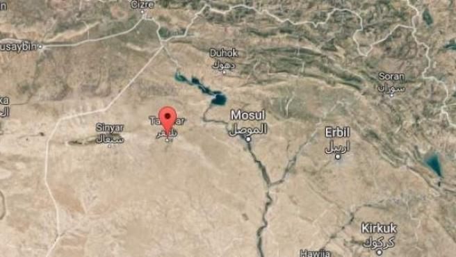 Mapa que muestra la situación de las ciudades de Mosul y Tal Afar.