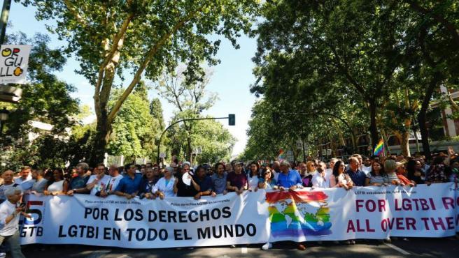 Inicio de la mayor marcha del Orgullo Gay 2017 en el mundo, que ha partido de la glorieta de Atocha de Madrid.