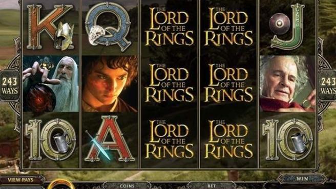 Captura del juego de azar 'Lord of the Rings: Online Slot Game'.