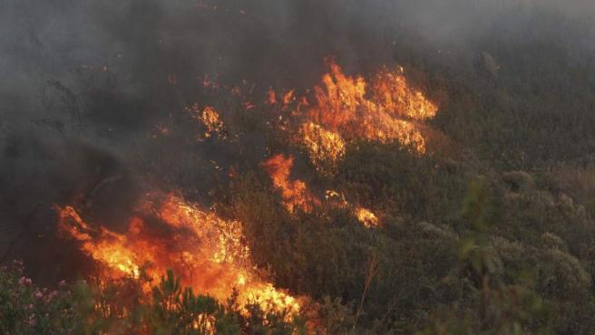 Vista de las llamas que asolan las Minas de Riotinto, en Huelva.