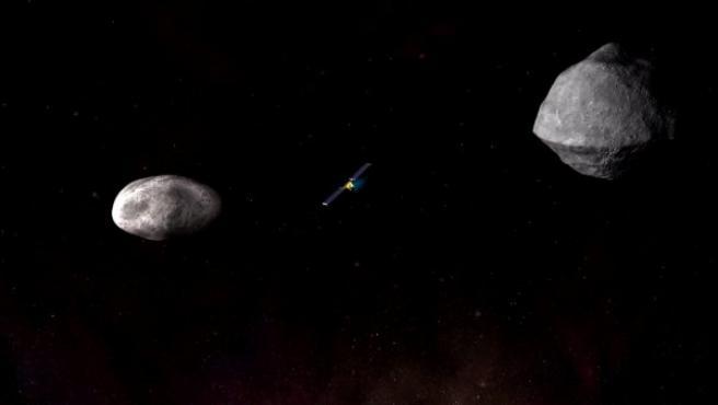 Imagen que muestra cómo funciona el sistema DART (Double Asteroid Redirection Test), que será probado por primera vez por la NASA con dos asteroides no amenazantes.