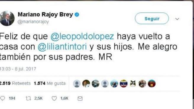 Tuit de Mariano Rajoy, mostrando su alegría por la salida de prisión del opositor venezolano Leopoldo López.