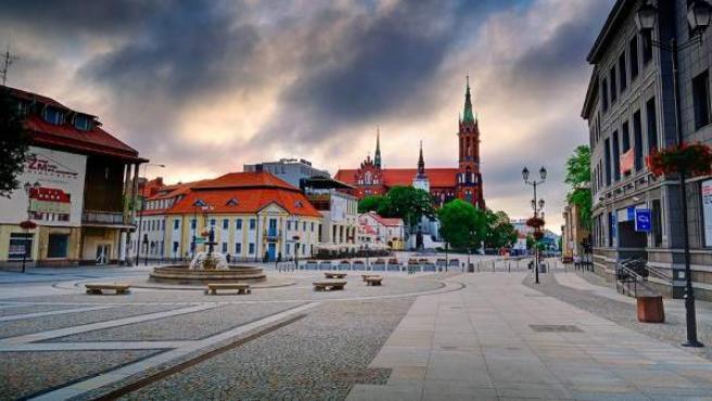 Vista panorámica del centro de la ciudad polaca de Białystok.