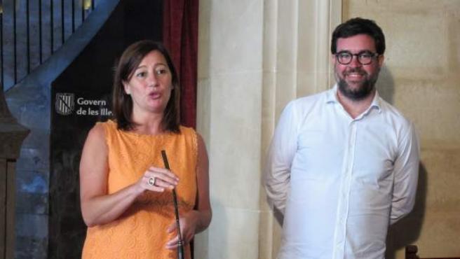 La presidenta de Baleares y el alcalde de Palma, Francina Armengol y Antoni Noguera.