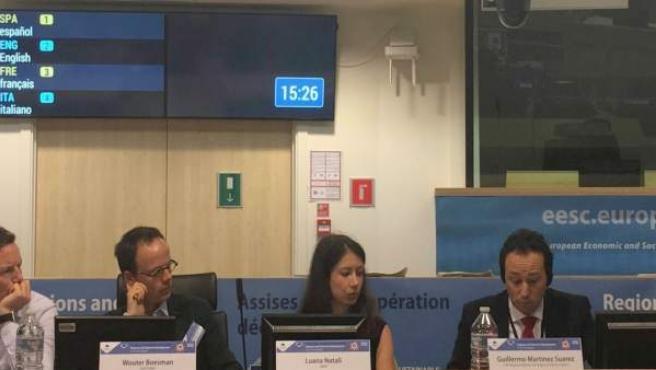 Martínez (primero por la derecha, en las Jornadas sobre Cooperación.