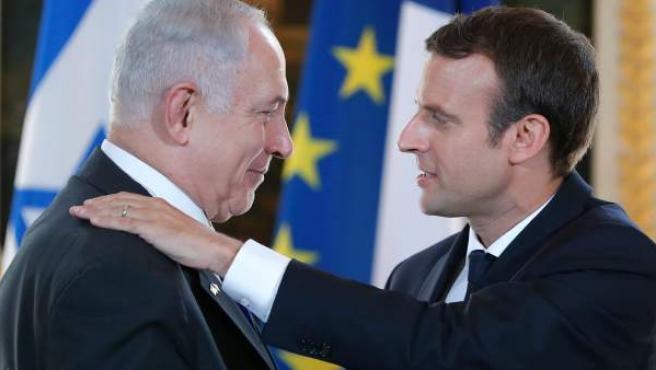Emmanuel Macron y Benjamin Netanyahu tras su declaración conjunta en el palacio de los Campos Elíseos.