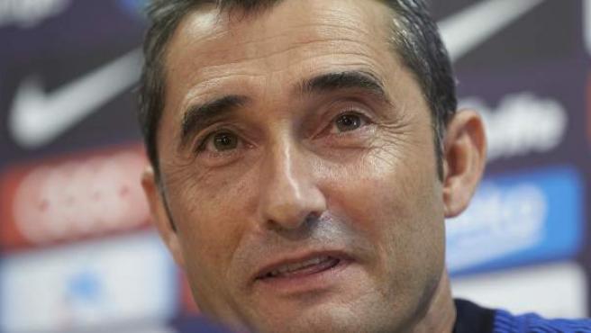 El entrenador del Barça, Ernesto Valverde, en rueda de prensa.