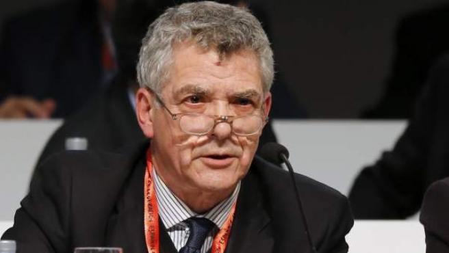 Ángel María Villar en la asamblea de la RFEF.