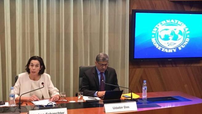 Integrantes del organismo internacional en la presentación de su último informe sobre la economía española.