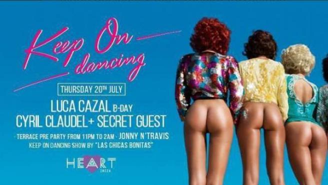 Cartel eliminado de una fiesta del Heart en Ibiza.