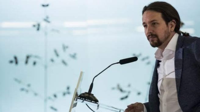 Pablo Iglesias comparece en un desayuno informativo.