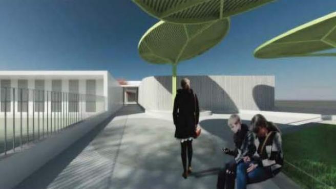 Recreación virtual del nuevo edificio del colegio.