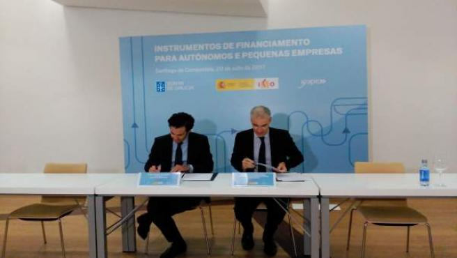 El conselleiro de economía, Francisco Conde y el presidente del ICO