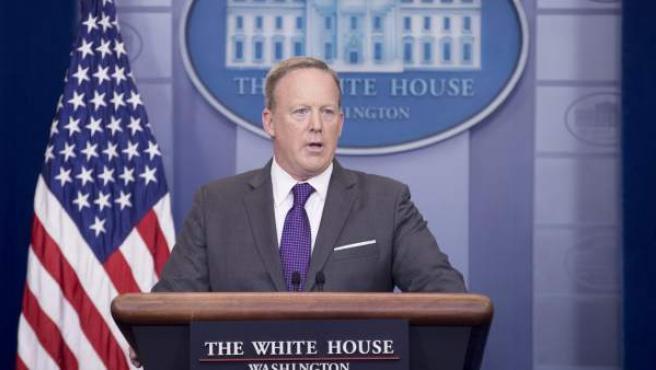 El hasta ahora portavoz de la Casa Blanca, Sean Spicer, en una rueda de prensa en Washington (Estados Unidos).