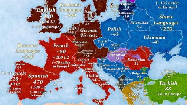 Mapa de Europa sobre el número de hablantes de sus idiomas.