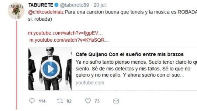 Pique en las redes sociales entre Taburete y Los Chikos del Maíz.