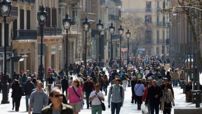 El Portal de l'Àngel, una de las calles más comerciales de Barcelona.